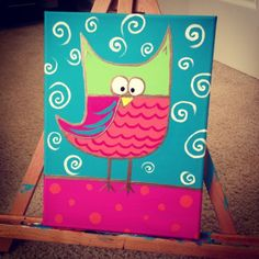 Hand painted owl for doodles playroom.