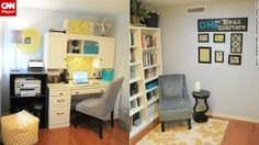 Becky Barnfather's home office is multipurpose -- including storing her husband's clothes -- and still manages to provide a functional and inspiring work environment.