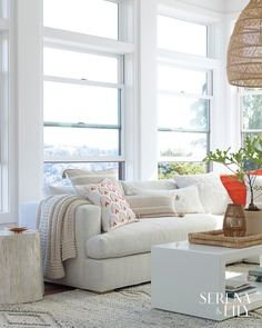 The clean simplicity of Scandinavian design meets the airy look of an open-weave pendant. Beautifully woven from rattan, it adds the perfect dose of artistry and texture to the room. Seat Cushions, Pillows, Throw Pillow, Living Room Sectional, Living Rooms, Living Spaces, Barn Living, Home Decor Inspiration, Family Room