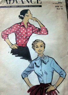 LOVELY VTG 1950s BLOUSE ADVANCE Sewing Pattern 14/32