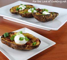 Potato Skins mmmmmm    From: http://www.fortheloveofcooking.net/2012/02/loaded-potato-skins.html