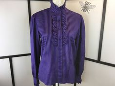 Purple Striped Blouse, Vintage Ruffle Top, Women's Button Up Shirt, Secretary Blouse, Work Top, Josephine, Size Large by InBeetweenVintageCo on Etsy