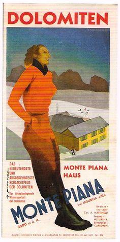 vintage ski poster Dolomiten