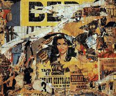 Villeglé lacère des affiches publicitaires pour montrer la dégradation de la société de la consommation dans l'image moderne. Rue de la Biche 800x800