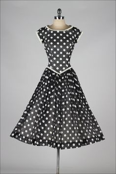 vintage 1950s dress . Pat Premo . black white