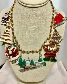Your place to buy and sell all things handmade Vintage Santa Claus, Vintage Santas, Red Christmas, Vintage Christmas, Snowy Trees, Christmas Necklace, Rosary Beads, Taupe, Upcycle