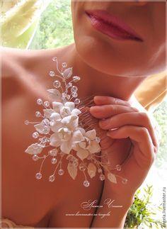 Гребень для свадебной прически.     Украшения для невесты. Свадебный стиль. Украшения для праздников и торжеств. Необычные украшения в подарок.