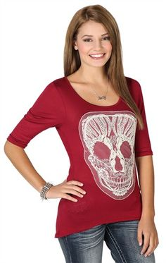 Deb Shops high low top with elbow sleeves and natural skull patch $15.67