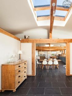 Contemporary timber frame home - looking through to open plan kitchen/dining
