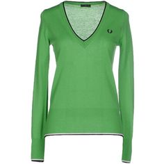 Fred Perry Jumper ($89) ❤ liked on Polyvore featuring tops, sweaters, light green, long sleeve v neck sweater, long sleeve sweater, wool v neck sweater, wool jumpers and green jumper