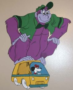 The Great Grape Ape Show was broadcast on ABC from 1975 to 1978.The title character is a 40-foot-tall purple gorilla. He travels the countryside with his canine pal Beegle Beagle