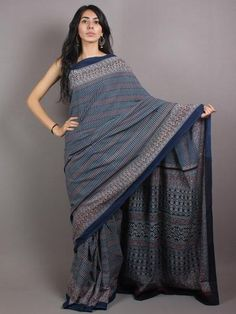Indigo Beige Maroon Mughal Nakashi Ajrakh Hand Block Printed in Natural Vegetable Colors Cotton Mul Saree - S03170655