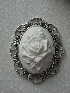White on White Rose Antique Silver Brooch by OctoberPetals on Etsy