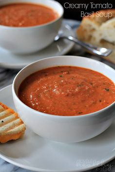 If you're looking for that perfect Tomato Soup then this Creamy Tomato Basil Soup is the one! Get your Grilled Cheese ready! | joyfulhealthyeats.com