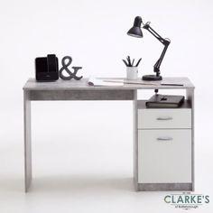 Jackson Concrete/White Study Desk Office Furniture, Office Desk, A Shelf, Shelves, White Writing Desk, Study Desk, Chipboard, Storage Spaces, Color Schemes