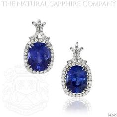 Blue Sapphire Earring - J4245. The two GRS certified no-heat sapphires weigh 13.46cts and 12.89cts, for a total of 26.35cts of sapphires for you and your ears to adore! Set in hand made platinum baskets with lever backs, and accented by 82 colorless round brilliant diamonds weighing a total of 2.20cts