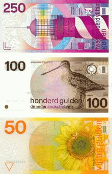 Banknotes, 1982  Client: De Nederlandsche Bank   Design: Ootje Oxenaar    From 1966 through 1985, Robert Deodaat Emile (Ootje) Oxenaar (1929) worked for the Dutch Central Bank. The lighthouse refers to the long coastline of The Netherlands and the pivotal role shipping has played in the country's history. In the lighthouse design one can read the names of two friends of Oxenaar's granddaughters. The watermark shows his girlfriend's rabbit.