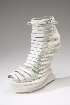 3D Printed Shoe #futuristic white wedges structural architectural bone woven future fashion tall high heels sculpted