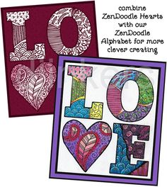 zendoodle letters, zendoodle hearts, zentangle art, cute clip art, love