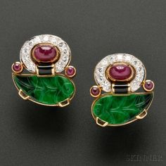 Rosamaria G Frangini | High Colorful  Jewellery  | Diamond and Gem-set Earclips, David Webb | Skinner Auctioneers