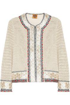 Tory Burch|Donovan embellished crochet-knit linen jacket|NET-A-PORTER.COM