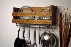 Industrial Pot Rack Utensil Holder Towel Bar Cast Iron Pipe 6 hooks Light Walnut Rustic Modern