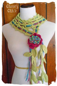 Victorian Rose Lariat Scarf in Multi Color by Cherry Chick on Etsy, $40.00