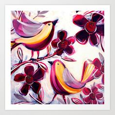Finches in the Flowers I Art Print by Anna Bartlett - love this.  Anna gives painting lessons in Toowoomba Qld Australia.  Creator of 'Shiny Happy Art'.
