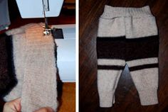 DIY cloth diaper longies from a Thrift store wool sweater