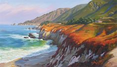 """""""Central Coast"""" #SurfArt by #JamesFinch. Beautiful impressionist painting available in two sizes: 14"""" x 24"""" or 24"""" x 42"""""""