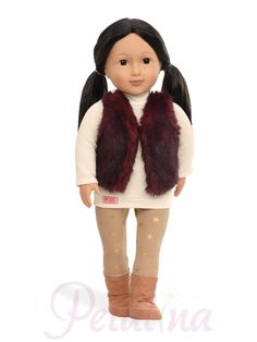 Tamaya is an doll by Our Generation with long black hair and deep brown eyes. She wears a cream-colored sweater, leggings with gold star print, faux-suede boots, and a faux-fur vest. Native American Dolls, American Girl, Journey Girls, Our Generation Dolls, Long Black Hair, Long Hair, Arts And Crafts Projects, 18 Inch Doll, Star Print