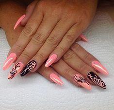 Simple for long nails – lange nagels Pink Black Nails, Pink Nail Art, Colorful Nails, Elegant Nails, Stylish Nails, Sassy Nails, Cute Nails, Pretty Nail Art, Cool Nail Art