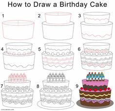 How to Draw a Birthday Cake Step by Step Drawing Tutorials with Pictures.