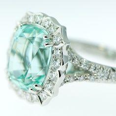 6.0ct Rare Blue Tourmaline Platinum Handforged ring by Von Bargens