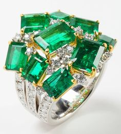 Vivid Green Emerald Ring | From a unique collection of vintage fashion rings at https://www.1stdibs.com/jewelry/rings/fashion-rings/ Vivid Green Emerald Ring  Offered By Rina Limor Fine Jewelry  $60,000