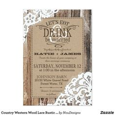 Country Western Wood Lace Rustic Wedding Card Rustic country western wedding invitation card design with white lace over linen-look background and aged wood planks.