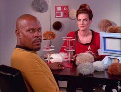 Captain Sisko and Jadzia Dax in the past. (Star Trek: Deep Space Nine)