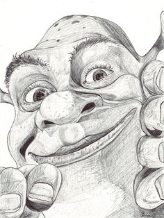Shrek by Charlie Fenner Easy Disney Drawings, Disney Drawings Sketches, Art Drawings Sketches Simple, Cartoon Sketches, Pencil Art Drawings, Cute Drawings, Drawing Cartoon Characters, Character Drawing, Cartoon Art