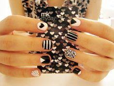black and white patterned nails