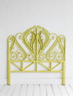 peacock headboard in lemon yellow
