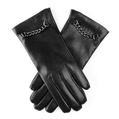 Cashmere Lined Leather Gloves with Chain Detail