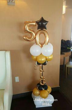 Fiesta Birthday Ballon Decorations, 50th Wedding Anniversary Decorations, Class Reunion Decorations, 50th Birthday Party Decorations, Balloon Centerpieces, 50th Birthday Gifts, Birthday Balloons, Balloon Decorations, Black And Gold Balloons