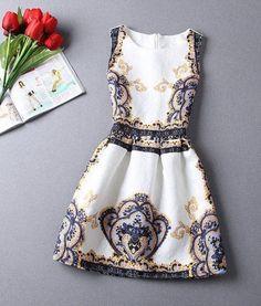 Golden-Blue Floral Print Sleeveless Vintage Dress