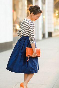 midi skirt + chevron sequin top + pops of color // fall fashion