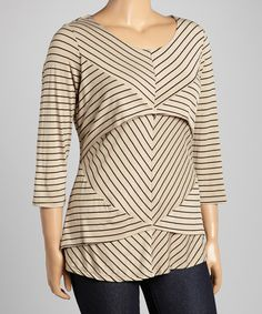 Look at this #zulilyfind! Allie & Rob Black & Khaki Stripe Tiered Top - Plus by Allie & Rob #zulilyfinds