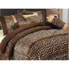 Best Cheetah Print Bedding - 7 Piece Safari – Zebra – Giraffe Print Brown Micro Fur Comforter Set, Bed in Bag, Queen Size Brown Comforter, Fur Comforter, Cal King Bedding, Queen Comforter Sets, Bedding Sets, Leopard Print Bedding, Animal Print Bedding, Animal Prints, Cheetah Print Bedroom