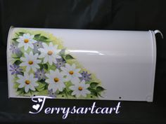 hand painted mailboxes | White Hand Painted Rural Mailbox with Daisies