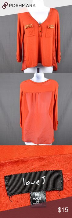 """Love J Orange 3/4 Sleeve Studded Henley Top This is a very unusual top. Perfect for when you need coverage on your arms but don't want anything too heavy. Three button Henley style top with studs on pocket flaps. Very small pinhole hole to right of top button. Sheer back. 95% rayon, 5% spandex. Measured flat: bust: 17"""", front length: 20"""", back length: 26"""", sleeve length: 20"""". Smoke free pet friendly home. Love J Tops Blouses"""