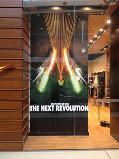 Nike Flyknit Lunar 2, impossibly light, incredibly strong retail window display sports shoe display.