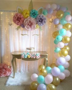 Unicorn birthday party decorations - Insanely Cute Unicorn Party Ideas to Help You Create Your Kid's Most Memorable Birthday – Unicorn birthday party decorations Unicorn Themed Birthday Party, 1st Birthday Parties, Birthday Party Decorations, Girl Birthday, Birthday Table, Birthday Backdrop, Flower Birthday, Table Decorations, Party Fiesta